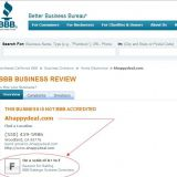 aHappyDeal.com BBB rating is the lowest F